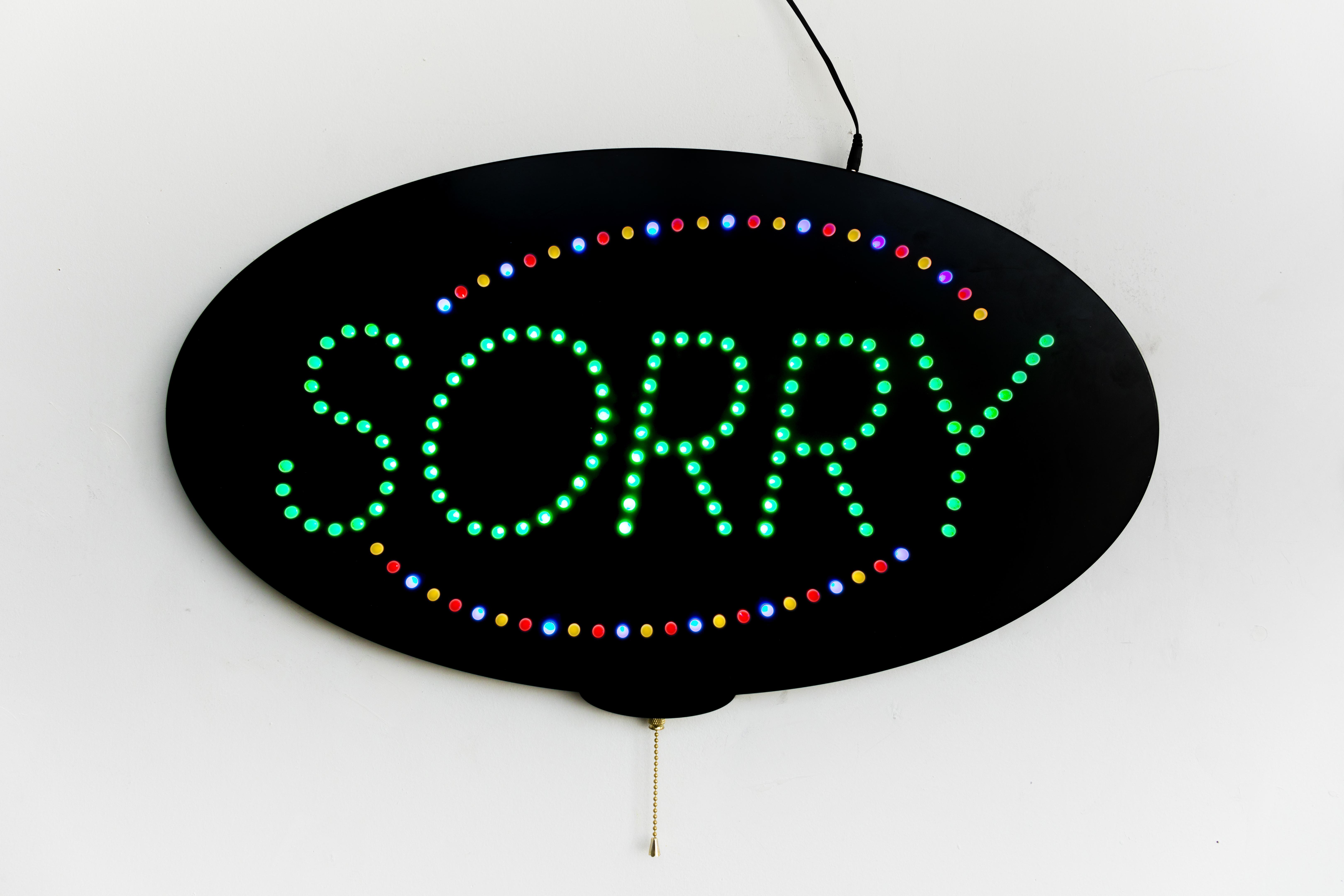 """Sorry"", Custom LED Sign, Edition of 5 + 1 AP, 2016"