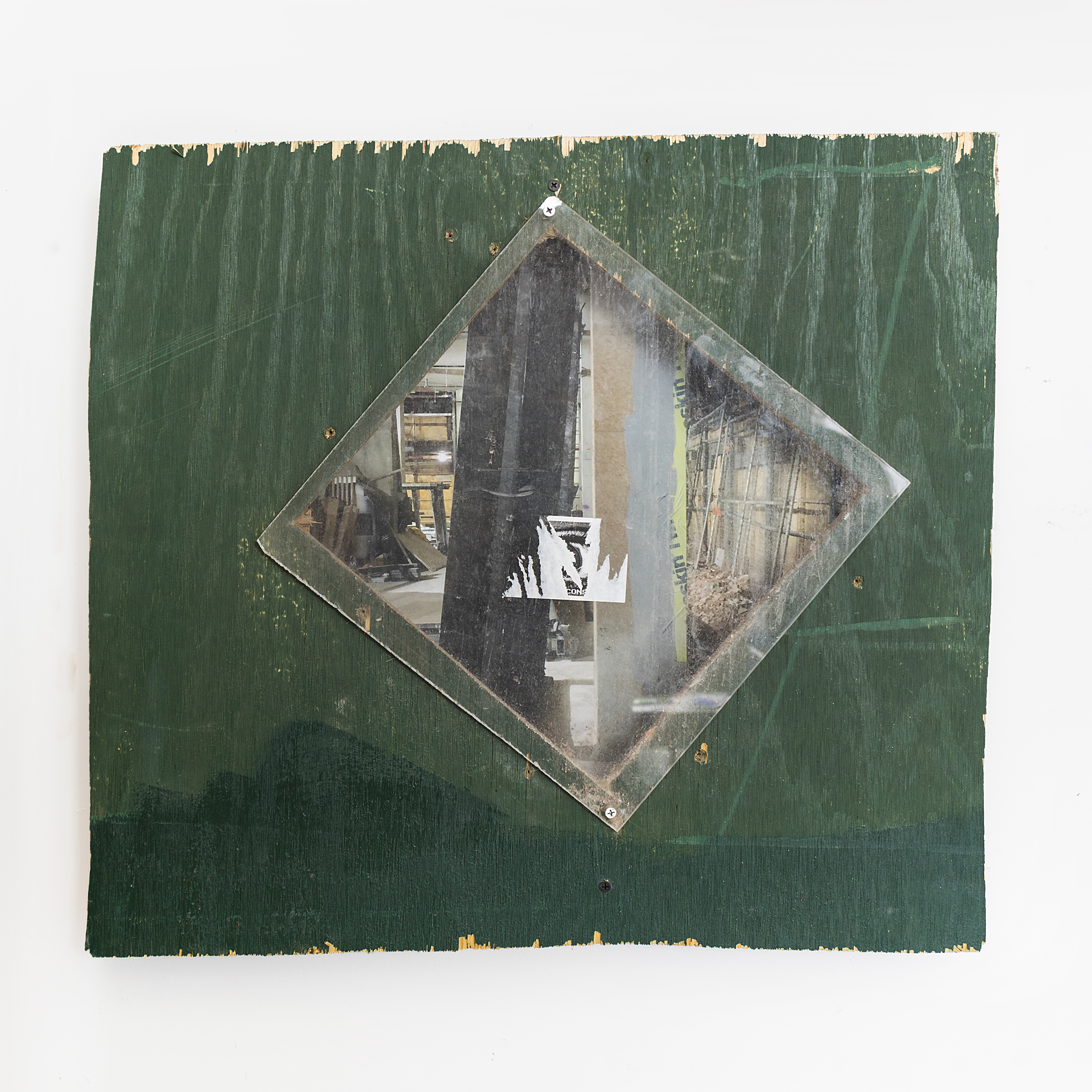 """Window / Window removed from construction site wall, photograph, wood, 22""""x 24""""x 3"""""""